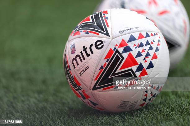 Practice balls are seen prior to the Barclays FA Women's Super League match between Manchester United Women and Everton Women at Leigh Sports Village...