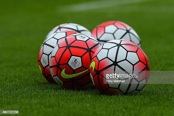 Practice balls are seen prior to the Barclays Premier League match between Watford and West Bromwich Albion at Vicarage Road on August 15 2015 in...