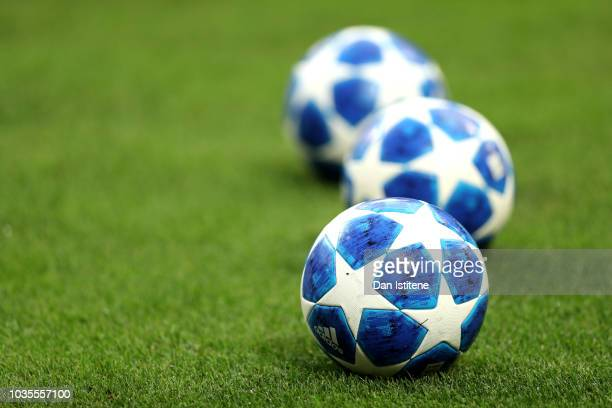 Practice balls are seen prior to the Group B match of the UEFA Champions League between FC Internazionale and Tottenham Hotspur at San Siro Stadium...