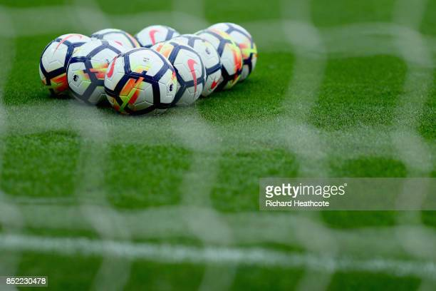 Practice balls are seen prior to the Premier League match between Stoke City and Chelsea at Bet365 Stadium on September 23 2017 in Stoke on Trent...