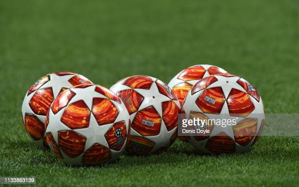 Practice balls are seen prior to the UEFA Champions League Round of 16 Second Leg match between Real Madrid and Ajax at Bernabeu on March 05 2019 in...