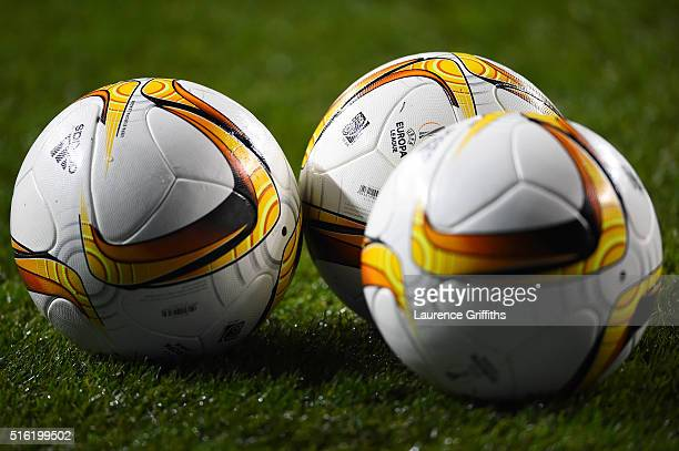 Practice balls are seen prior to the UEFA Europa League round of 16 second leg match between Tottenham Hotspur and Borussia Dortmund at White Hart...