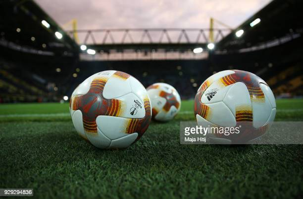 Practice balls are seen prior to the UEFA Europa League Round of 16 match between Borussia Dortmund and FC Red Bull Salzburg at the Signal Iduna Park...