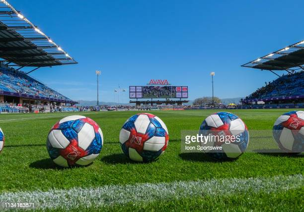 Practice balls on the field before the match between the San Jose Earthquakes and the Los Angeles Football Club on Saturday March 30 2019 at the...
