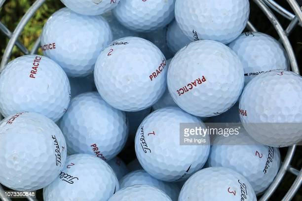 Practice balls on the range during Day Two of the MCB Tour Championship at Constance Lemuria on December 15, 2018 in Praslin Island, Seychelles.