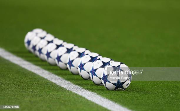 Practice balls sit on the turf prior to the UEFA Champions League Round of 16 second leg match between FC Barcelona and Paris SaintGermain at Camp...