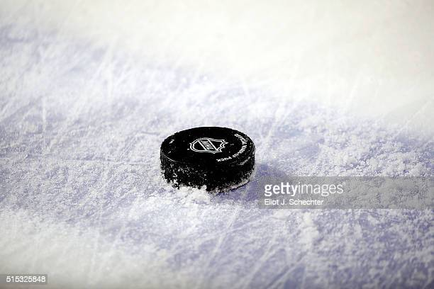 Practice pucks at the ready prior to the start of the game The Florida Panthers hosted the Boston Bruins at the BBT Center on March 7 2016 in Sunrise...