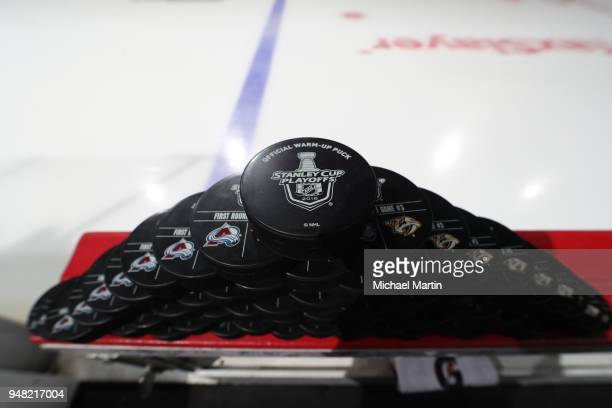 Practice pucks sit on the boards prior to the Colorado Avalanche against the Nashville Predators in Game Three of the Western Conference First Round...