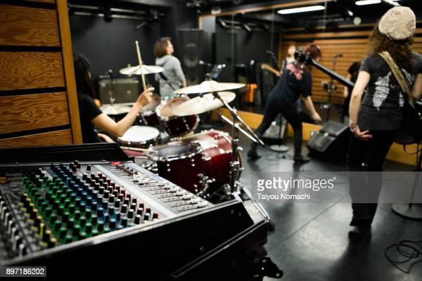 Practice scene of female rock band
