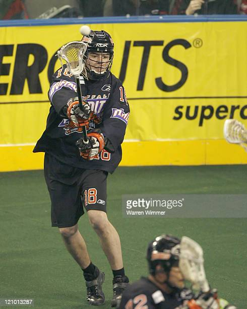 Practice Squad player Brendon Thenhaus during practice drills at the Sears Centre Hoffman Estates IL where the Buffalo Bandits defeated the Chicago...