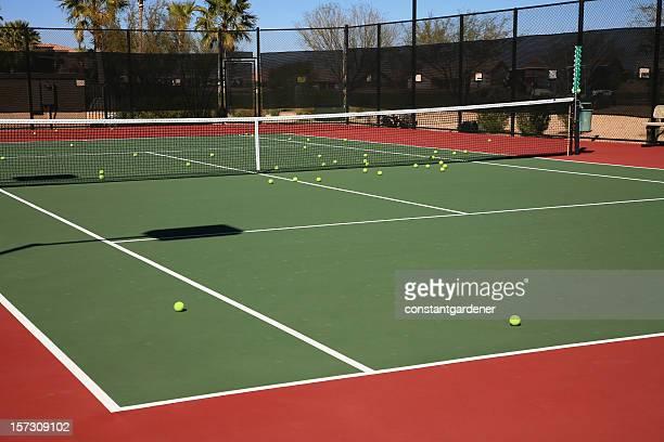 Practice Tennis Balls On Court.
