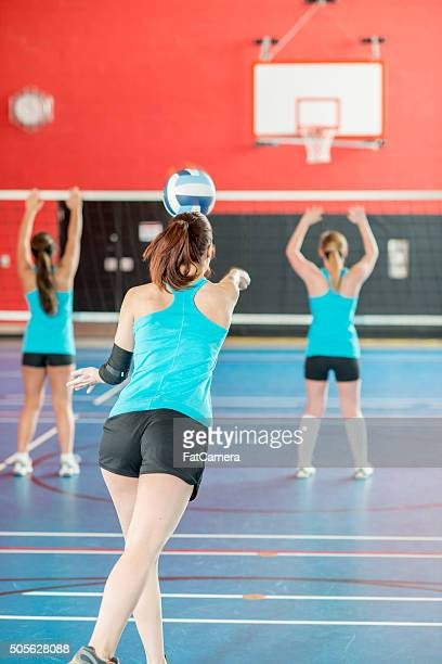 practicing bumping a volleyball - spiking stock photos and pictures