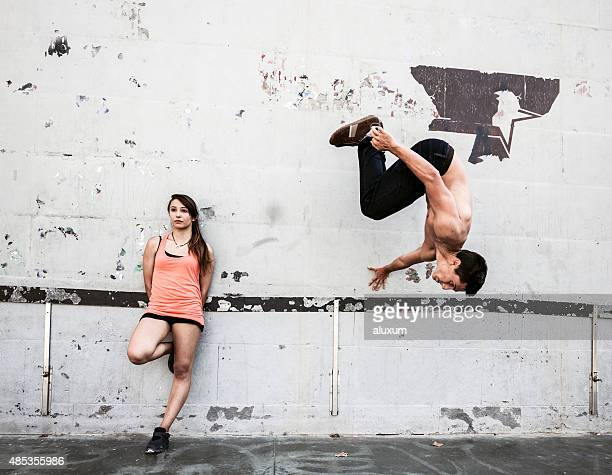 Practicing parkour in the city