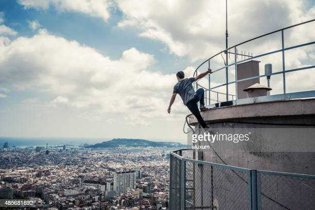 practicing parkour in the city - free running stock pictures, royalty-free photos & images