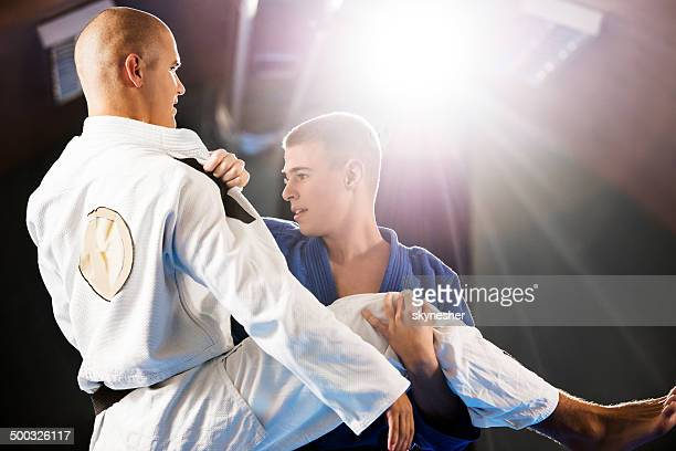 Practicing self-defense.