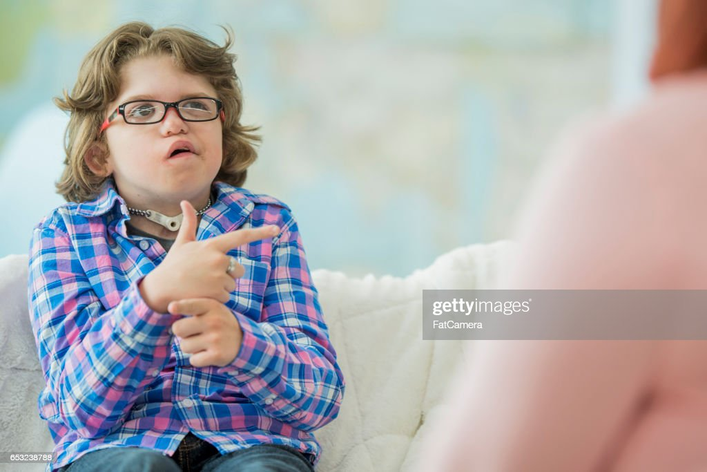 Practicing Sign Language : Stock Photo