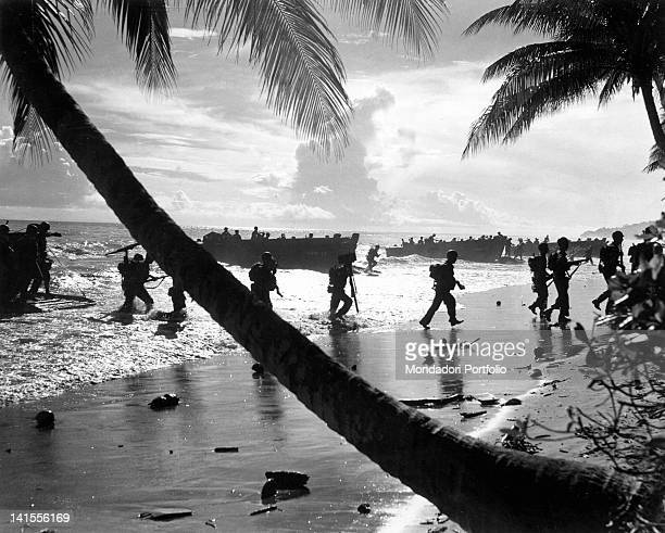 Practising the landing of troops of the 160th Infantry Regiment of the U.S. 40th Division on the island of Guadalcanal. Guadalcanal, Solomon Islands,...