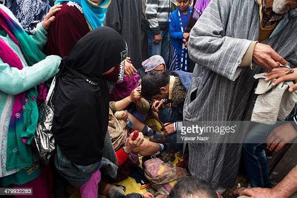 Practitioners give leech therapy to Kashmiri patients on March 21 in Srinagar the summer capital of Indian administered Kashmir India Nowruz the...