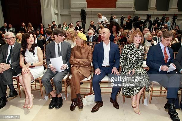 Prada Chairman & CEO Patrizio Bertelli, Ms Beaudoin, curator Andrew Bolton, designer Miuccia Prada, Amazon Founder & CEO Jeff Bezos, Vogue...
