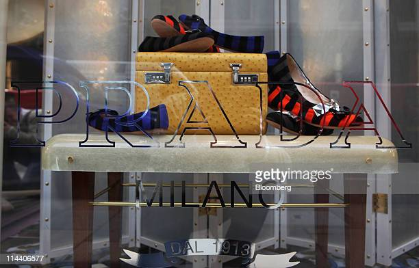 Prada shoes sit on display at the company's boutique on Old Bond Street in London, U.K., on Thursday, May 19, 2011. Prada SpA, the Italian producer...