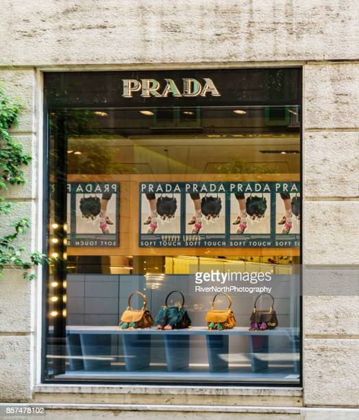 prada store, milan, italy - prada purse stock pictures, royalty-free photos & images