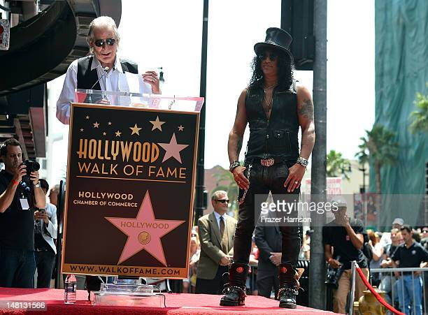 PRadio Host Jim Ladd speaks at the 2473rd star on the Hollywood Walk of Fame for musician Slash outside the Hard Rock Cafe on July 10 2012 in...