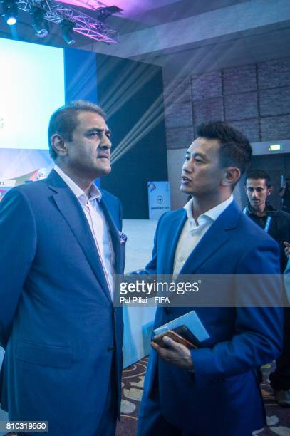 Praful Patel President AIFF and Bhaichung Bhutia former Indian Football players during FIFA U17 World Cup 2017 Draw held at Hotel Sahara Star on July...