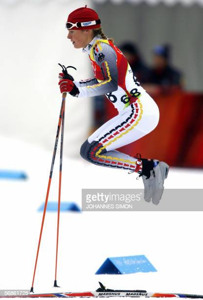 Evi Sachenbacher Stehle of Germany warms up before the women's 10km classical of the 2006 Winter Olympics' cross country event in Pragelato, 16...