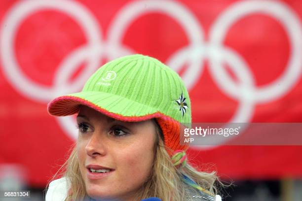 Olympic cross-country champion Evi Sachenbacher-Stehle addresses a press conference, 12 February 2006 at the cross-country venue of the Turin 2006...