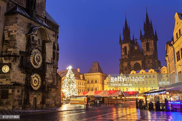 Prague astronomical clock and Tyn Cathedral