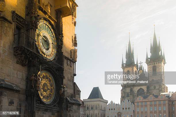 Prague astronomical clock of Prague in the Morning.