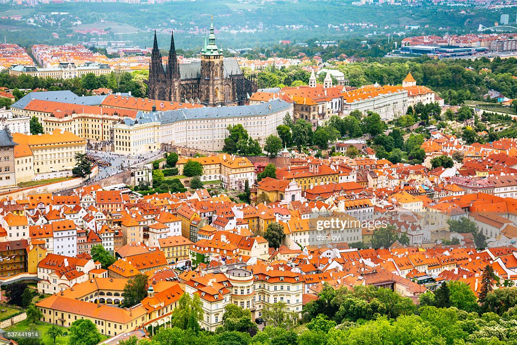 Prague castle and St. Vitus Cathedral : Stock Photo
