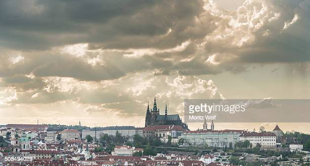 Prague Castle, Lesser Town with the Hradcany district and St. Vitus Cathedral, Old Town Square, Old Town quarter, Prague, Hlavni mesto Praha, Czech Republic