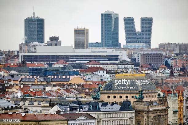 prague city skyline across old town prague. skyscrapers, high-rise on the horizon - tjeckien bildbanksfoton och bilder