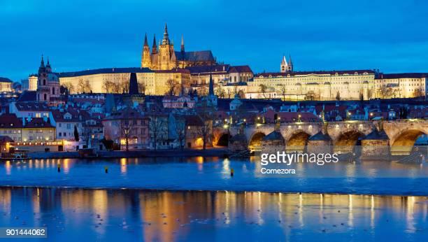 Prague Cityscape at Night, Czech Republic