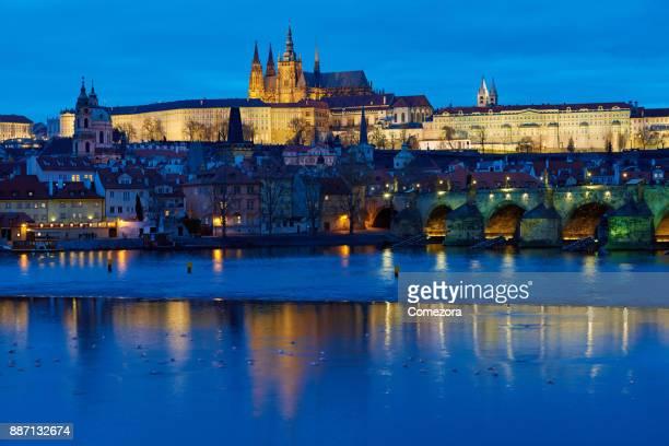 Prague Cityscape at Sunset, Czech Republic