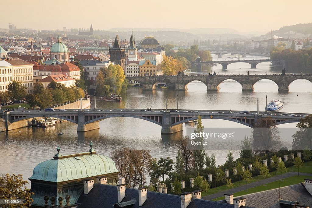 Prague Cityscape with the Vltava River and its Bridges at sunset 2007. : Stock Photo