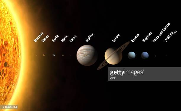 An artist's rendition shows the solar system with 12 planets including three new ones to be added if astronomers meeting in the Czech capital approve...