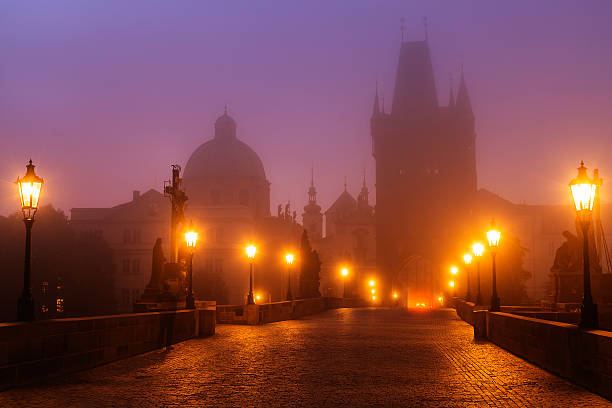 Prague, Czech Republic, Charles Bridge Illuminated In Foggy Morning Wall Art