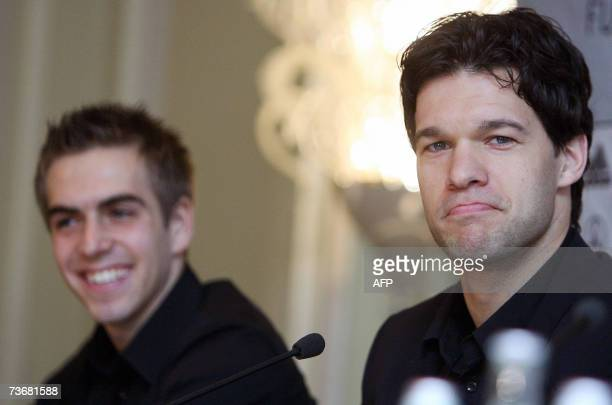 Germany's national football team captain Michael Ballack and defender Philipp Lahm address a press conference 23 March 2007 in Prague Czech Republic...