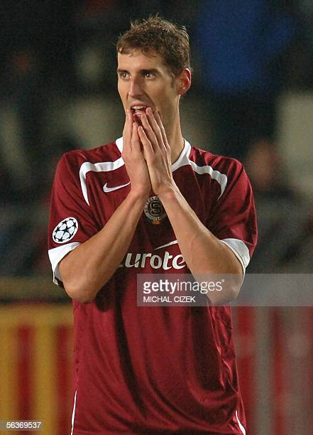 Libor Dosek of Sparta Prague reacts during a Champions league soccer match between Sparta Prague and FC Thun in Toyota Arena in Prague 07 December...