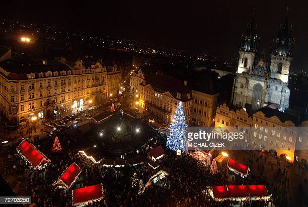 Picture shows a medieval Old Town Square decorated with a large Christmas tree and a traditional market in front of the Tyn Church 02 December 2006...