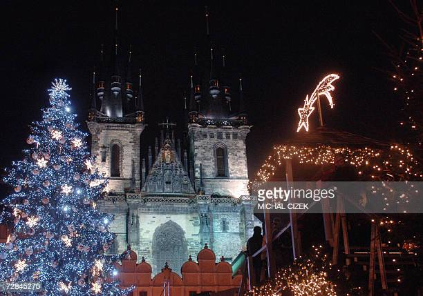 Picture shows the medieval Old Town Square with a large Christmas tree and a traditional market in front of the Tyn Church 18 December 2006 in Prague