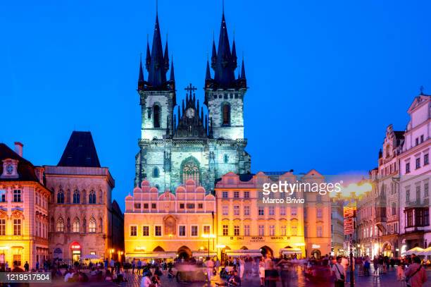 prague czech republic. the old city. the church of our lady before tyn at sunset - marco brivio stock pictures, royalty-free photos & images
