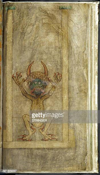 This photo taken 15 November 2005 shows a page of the biggest medieval manuscript in the world the 'Codex Gigas' or 'Devil's Bible' displayed at the...