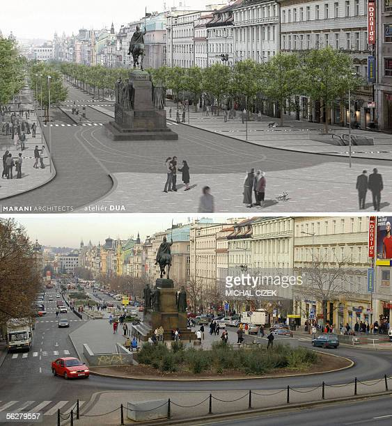 TO GO WITH AFP STORY 'Royal horseman and pedestrians set to rule in Wenceslas square' Combo of pictures show the Wenceslas Square the historic venue...