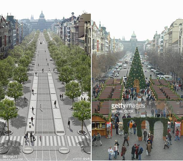 "Prague, CZECH REPUBLIC: TO GO WITH AFP STORY ""Royal horseman and pedestrians set to rule in Wenceslas square"" Combo of pictures show the Wenceslas..."