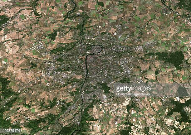Prague Czech Republic True colour satellite image of Prague capital city of the Czech Republic Image taken on 15 September 1999 using LANDSAT 7 data...