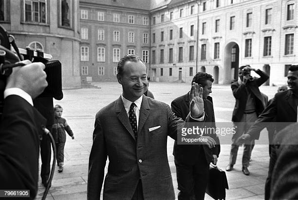Prague Czechoslovakia 13th September 1968 Alexander Dubcek the Czech Communist Party leader crosses a courtyard on his way to a meeting