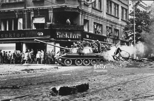 Prague, Czechoslovakia, August Young Czech residents fill the streets to jeer and taunt the Soviet army that have invaded and occupied the...